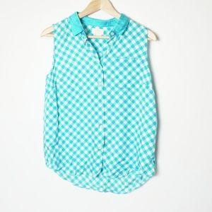 Kate Spade Button Down Sleeveles Blue Plaid Shirt